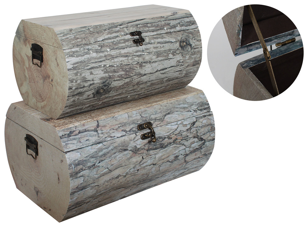 €260 S/2 WOODEN BOX NATURAL 'TREE TRUNK' 70X48X36