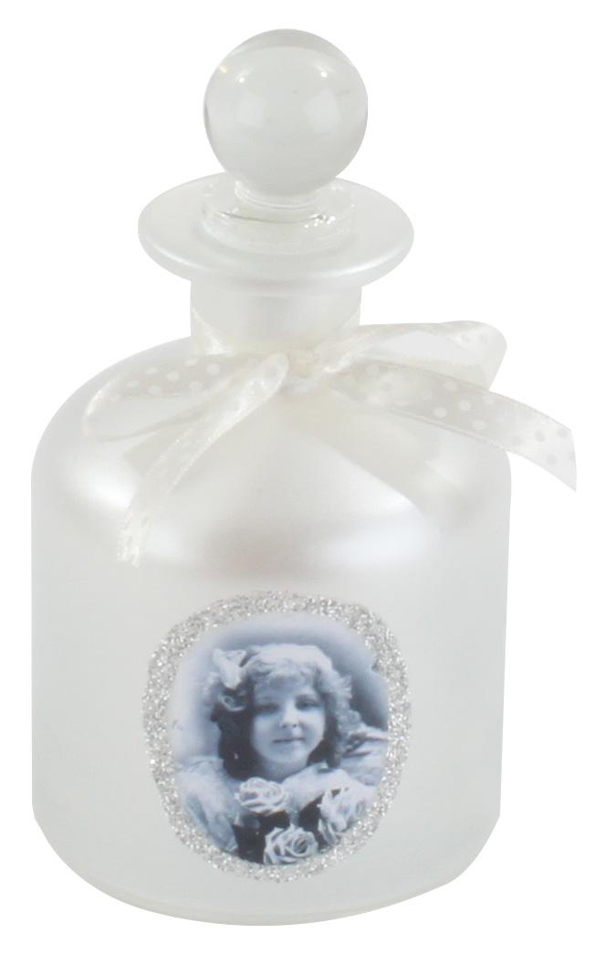 €10 GLASS BOTTLE IN WHITE COLOR W/LITTLE GIRL 8X15