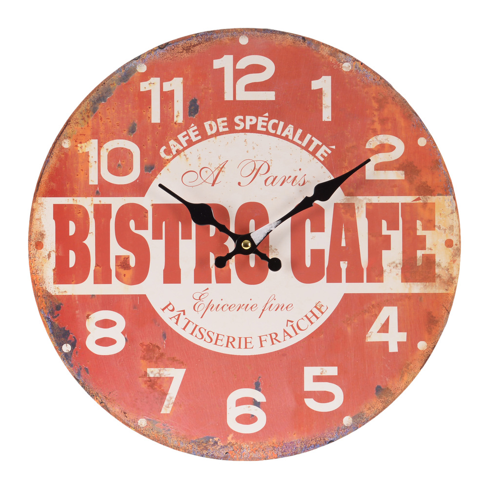 €16 MDF WALL CLOCK W/ BISTRO CAFE Δ-34