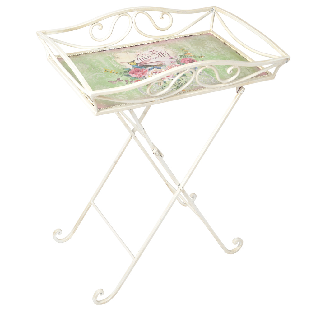 €140 METAL TRAY TABLE W/PINK ROSES 57X38X27