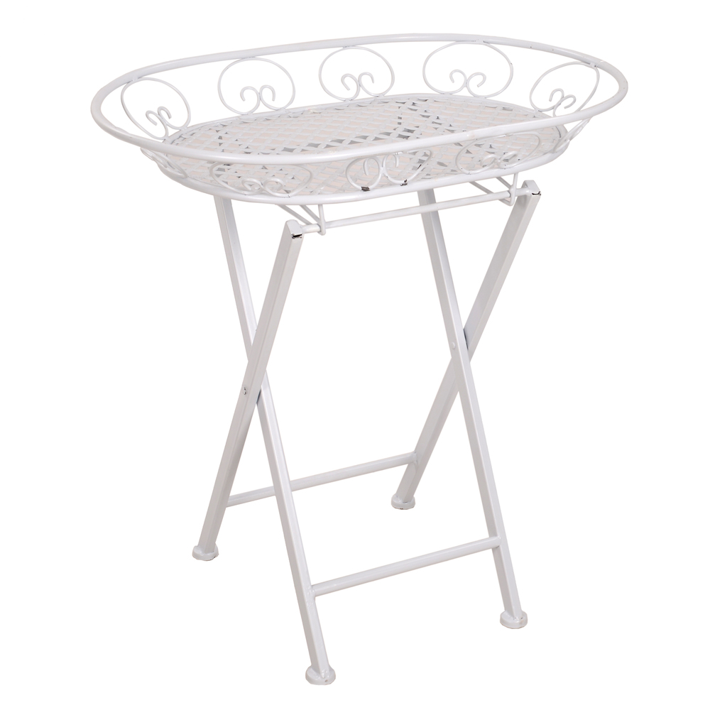 €70 METAL TRAY TABLE IN WHITE COLOR 60X40X65