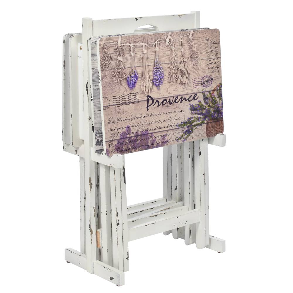 €64 WOODEN TRAY TABLE W/LAVENDER PRINT AND BASE 48X35X65