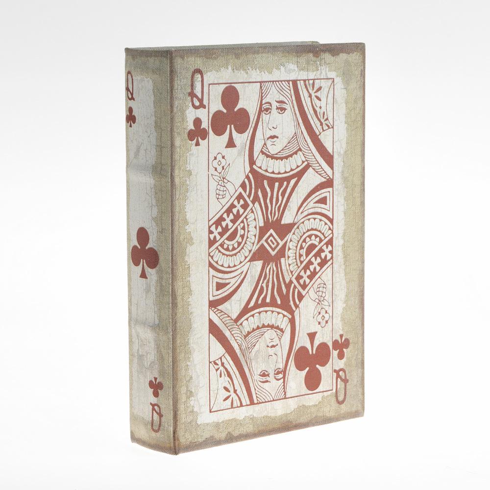 €20 WOODEN/CAMVAS BOOK BOX 'PLAYING CARD' 26X17X5