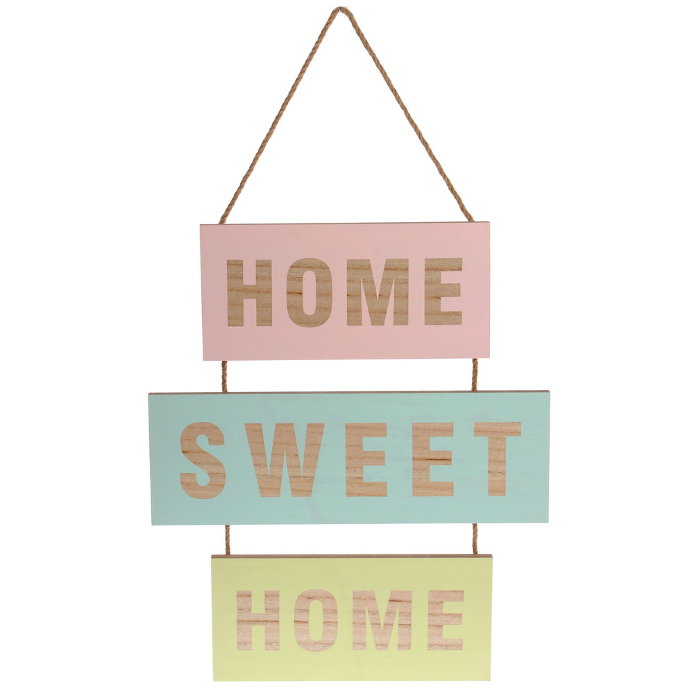 €18 MDF WALL DECO 'HOME SWEET' 35X1X40/56