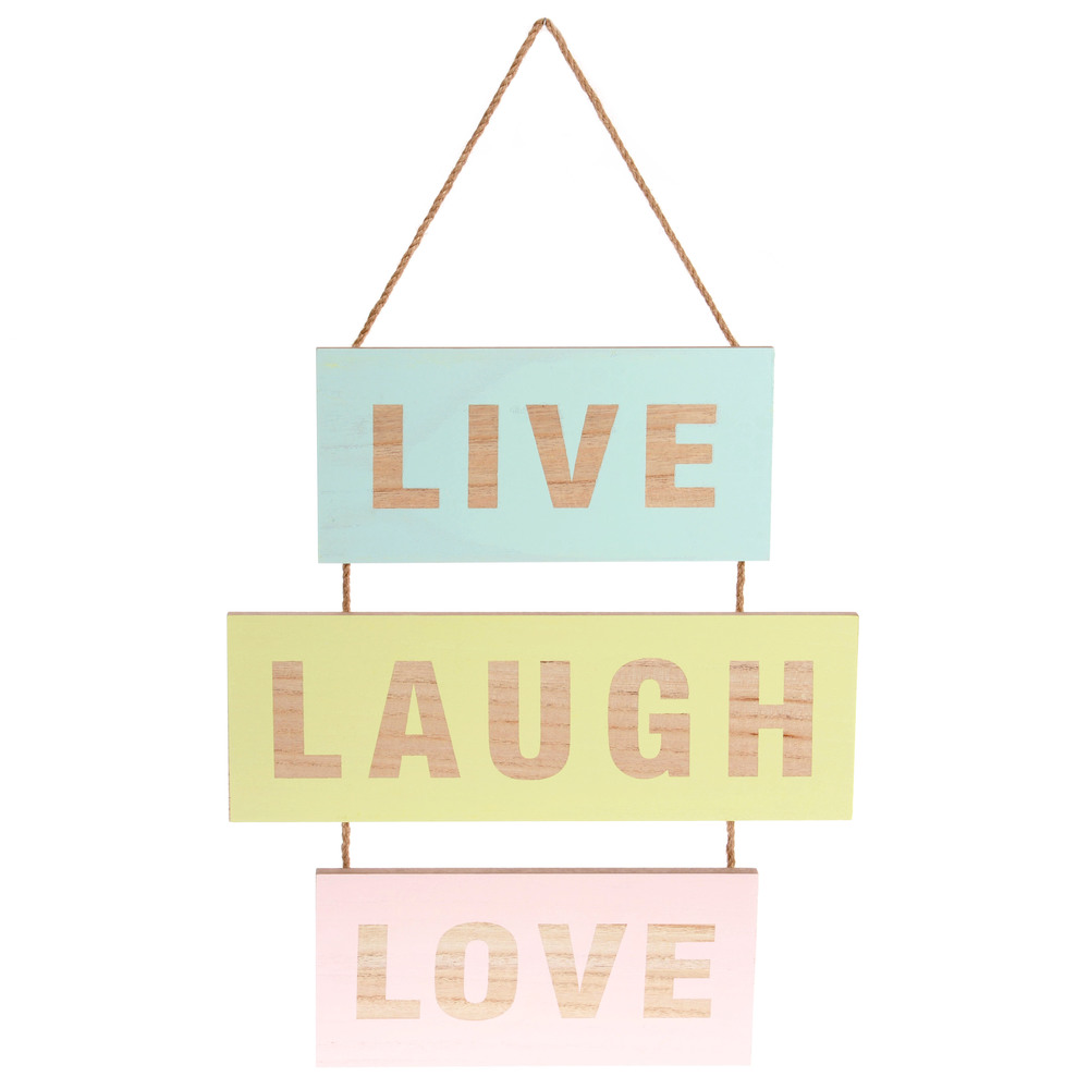 €18 MDF WALL DECO 'LIVE/LOVE' 35X1X40/56