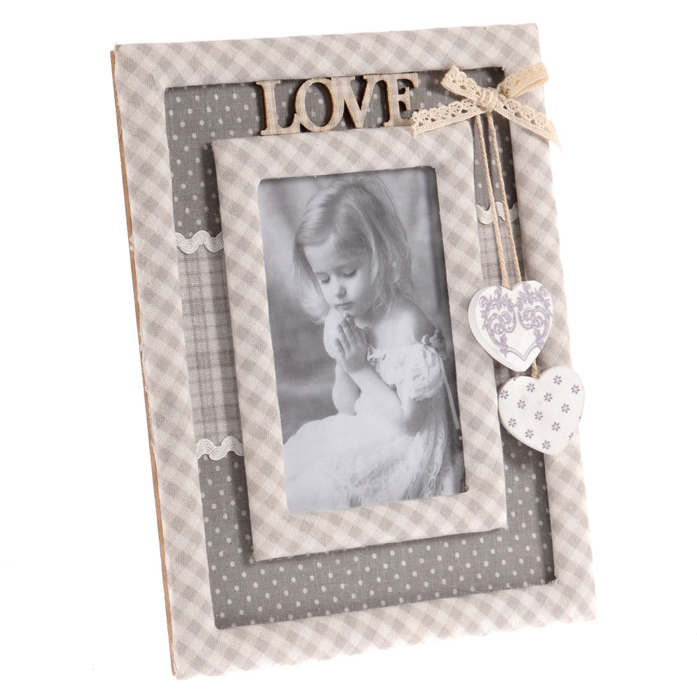 €20 MDF/FABRIC FRAME IN GREY COLOR LOVE 10X15