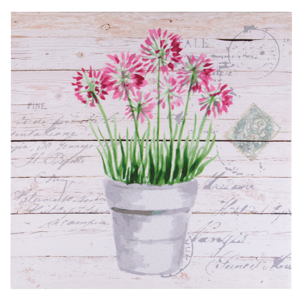 €14 PRINTED CANVAS PAINTING  PINK FLOWER 40X1.5X40
