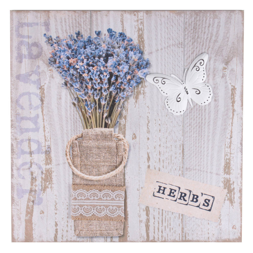 €20 PRINTED CANVAS PAINTING W/METAL DETAILS 'LAVENDER' 40X2.5X40