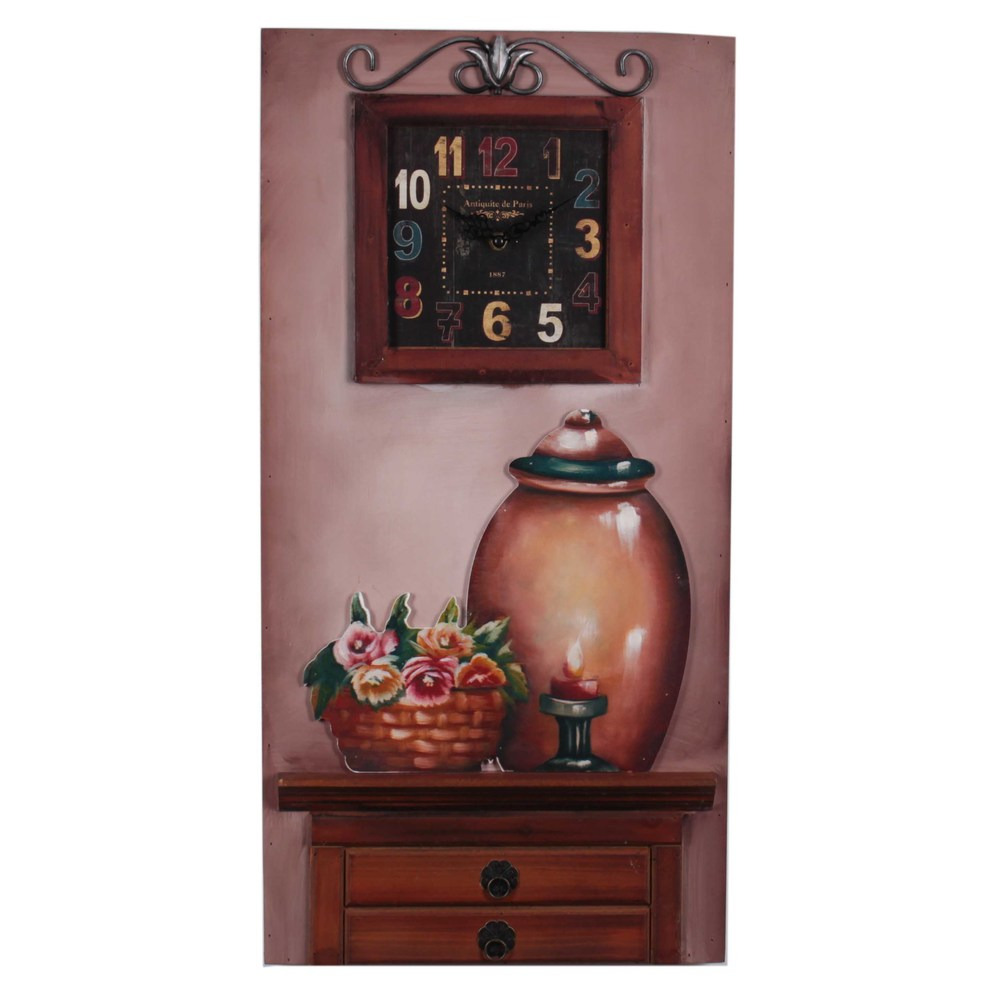 €48 WOODEN WALL CLOCK/PAINTING IN BROWN COLOR 36X5X72