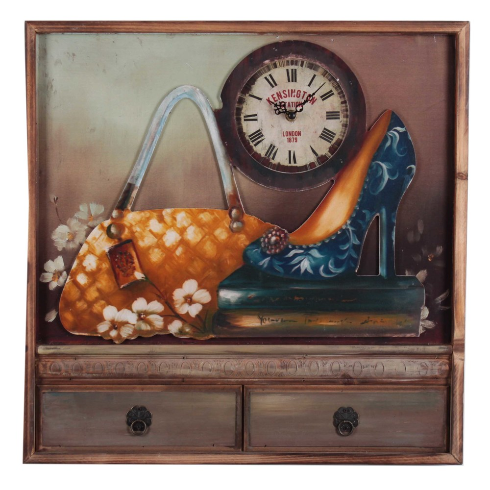 €47 WOODEN WALL CLOCK/PAINTING W/'SHOE' 50X5X50