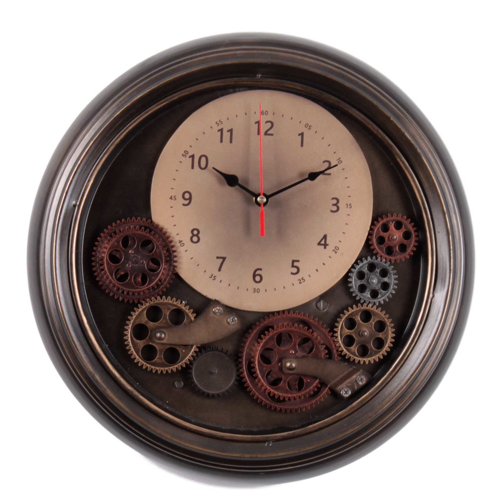 €130 METAL WALL CLOCK IN BROWN COLOR W/MOVING GEAR D:42(6.5)