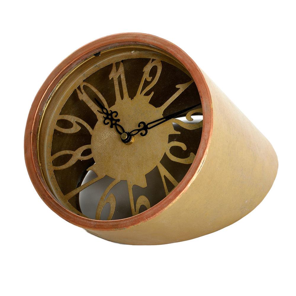 €48 METAL TABLE CLOCK  ΙΝ GOLD COLOR 21Χ27Χ30