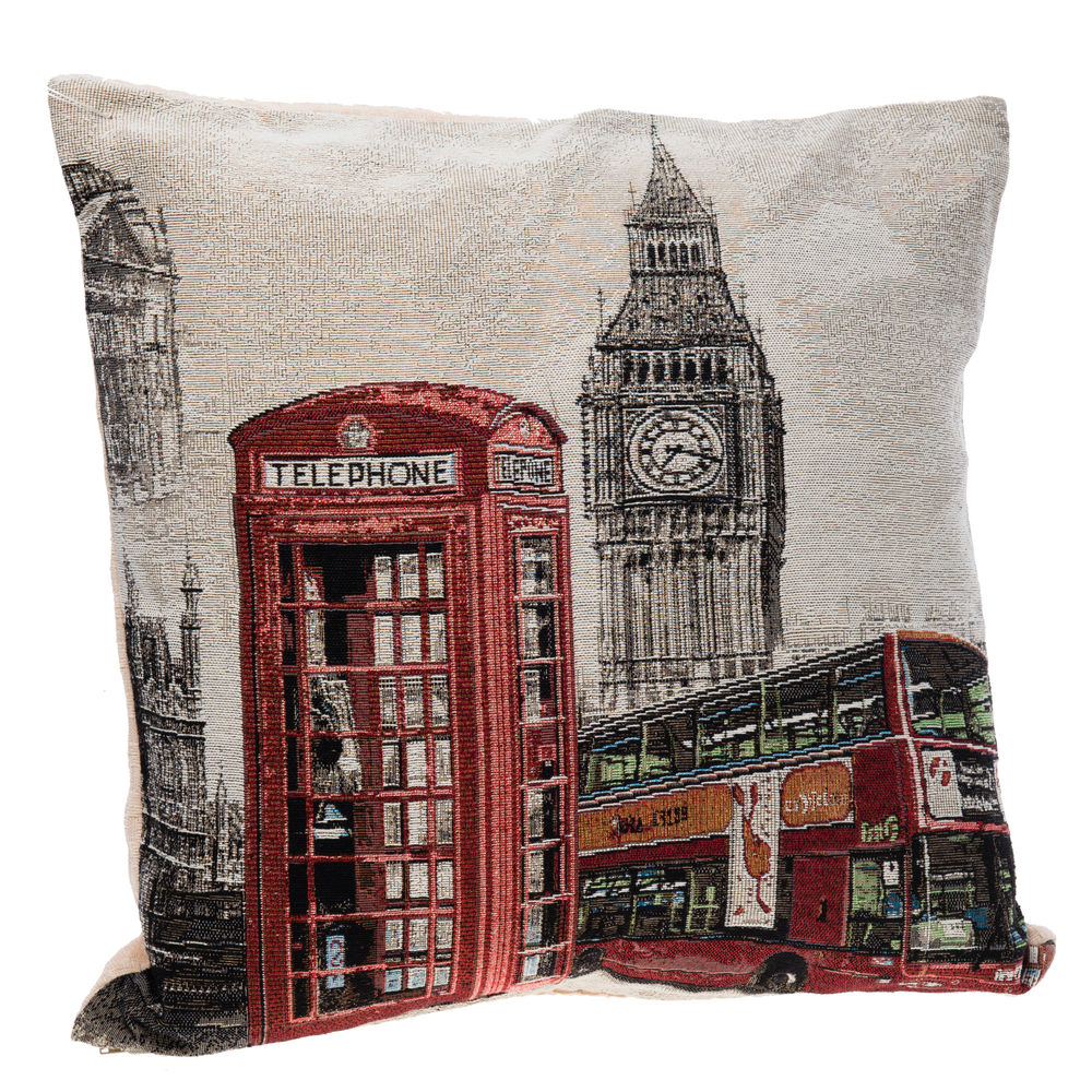 €18 FILLING FABRIC CUSHION W/'LONDON 43X43