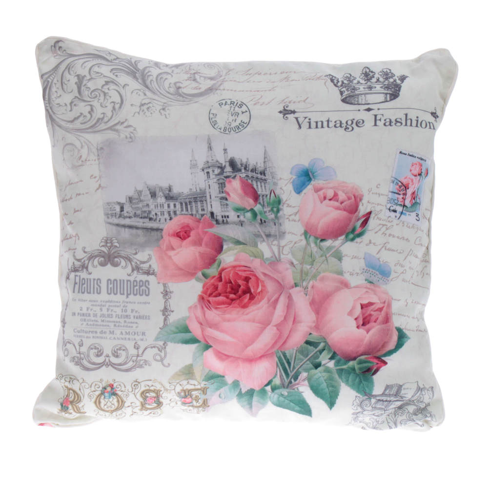 €16 FABRIC FILLING CUSHION W/ROSES 40X40