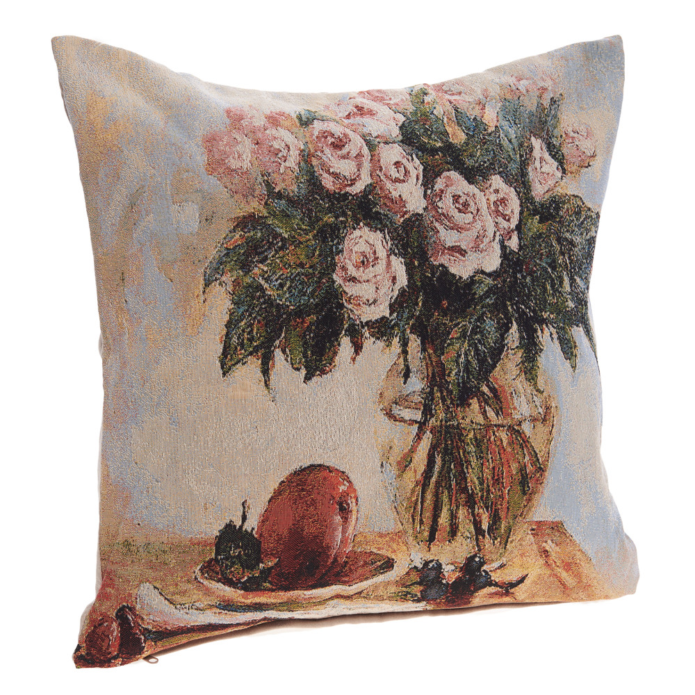 €20 FABRIC FILLING CUSHION W/FLOWER 45X45