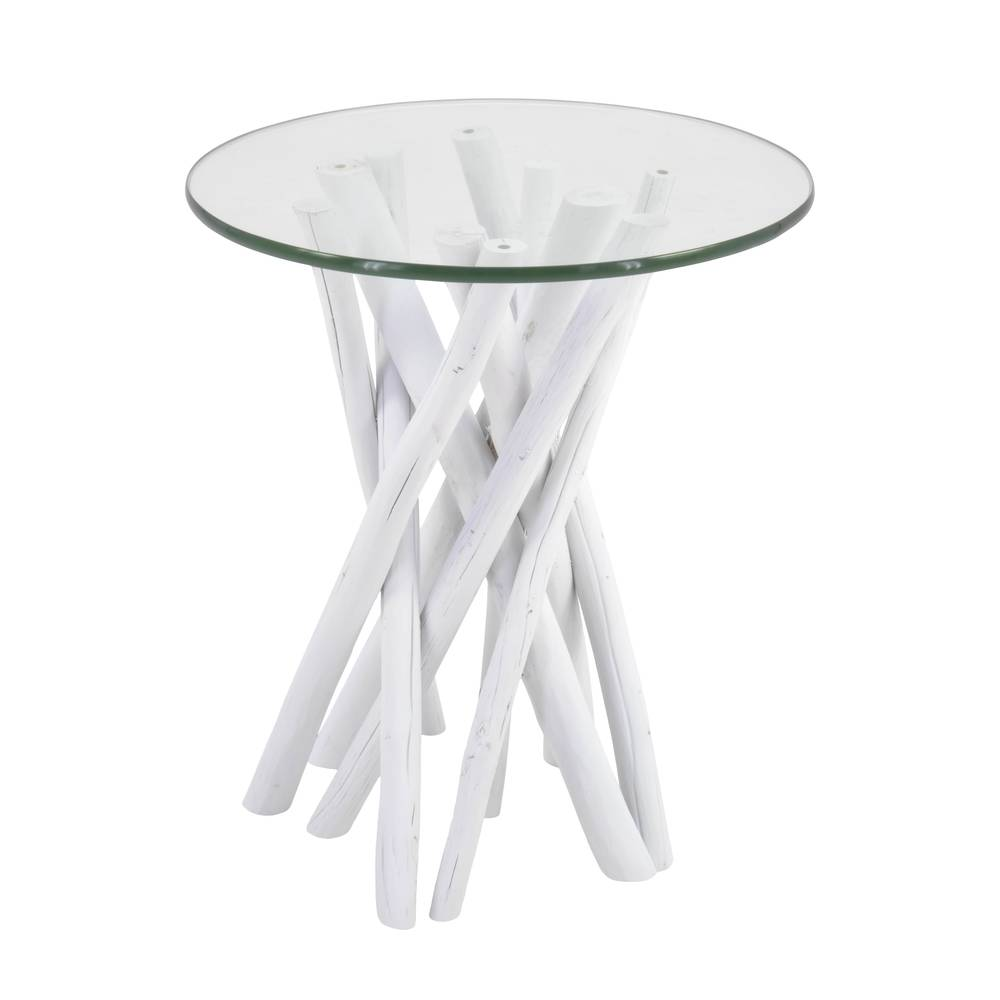 €125 WOODEN TABLE IN WHITE COLOR W/GLASS TOP 45X45X50