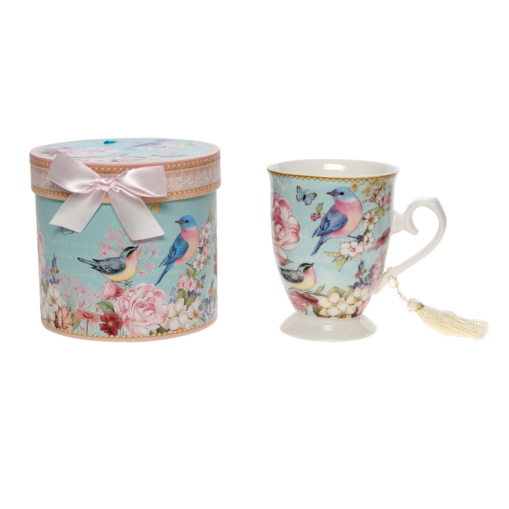 €16 PORCELAIN MUG W/BIRD  AND GIFT BOX 11X8X11