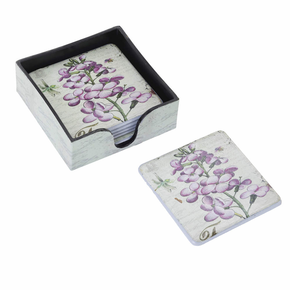 €12 S/6 PLASTIC COASTER W/PURPLE FLOWERS  W/BASE 10X10