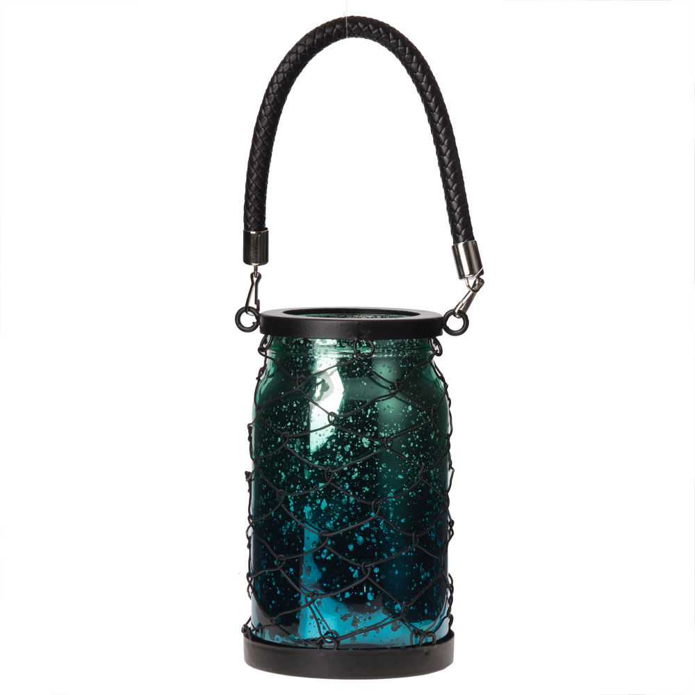 €15 GLASS LANTERN/T LIGHT HOLDER IN GREEN/BLUE COLOR 11X19/34