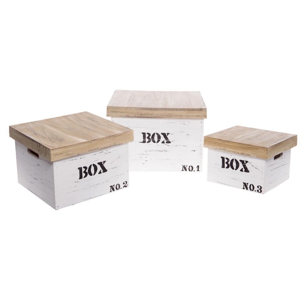 €100 S/3 WOODEN STORAGE BOX  35X35X24