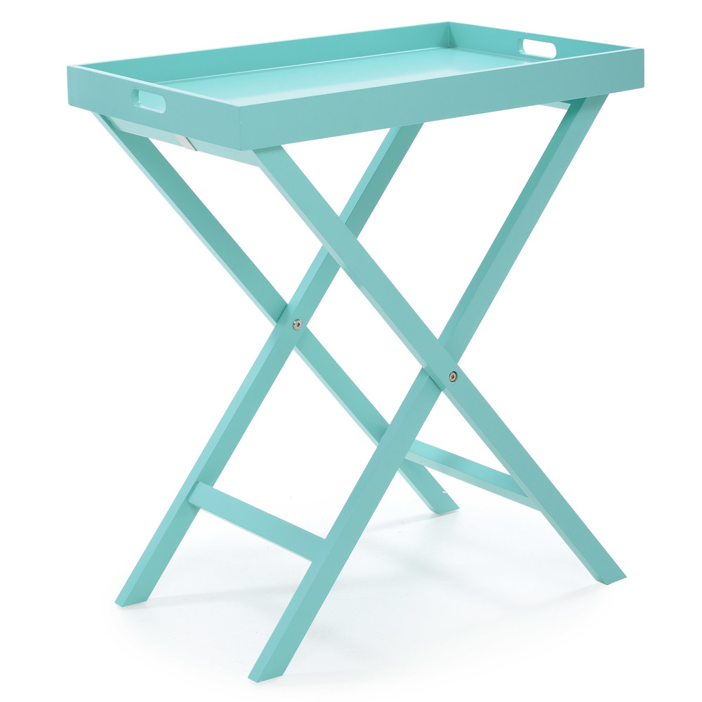 €170 WOODEN TRAY TABLE IN MINT COLOR 60X40X70