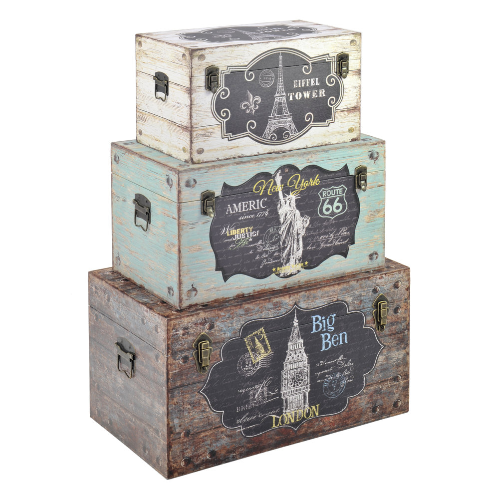 €320 S/3 WOODEN/CANVAS TRUNK W/EIFFEL 65X38X35