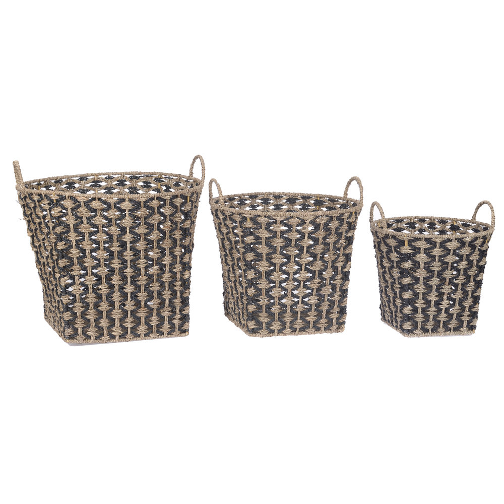 €90 S/3 SEAGRASS BASKET IN BLACK/NATURAL COLOR 38Χ38Χ26/30
