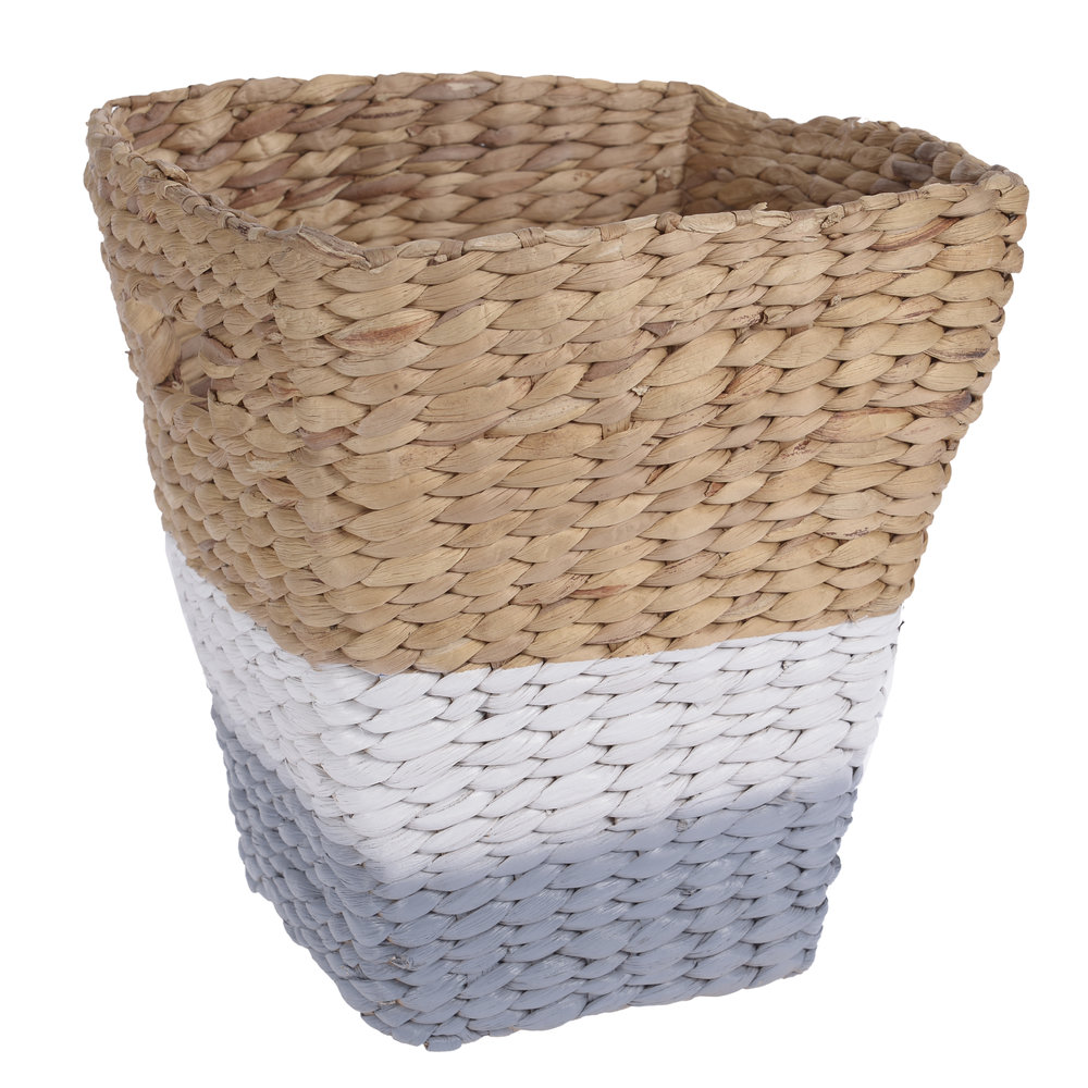 €25 WATER HYACINTH BASKET IN  GREY/NATURAL COLOR 29X26X30