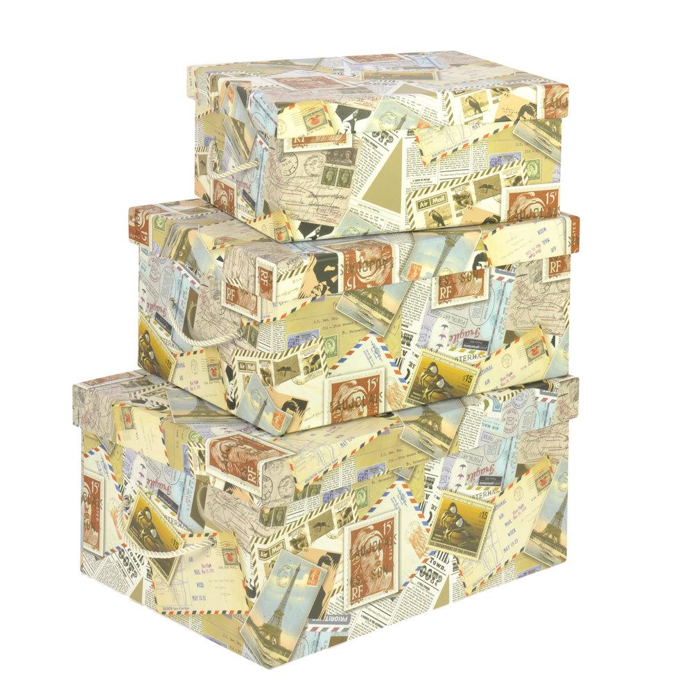 €40 S/3 PAPER STORAGE BOX W/STAMPS 39X29X19