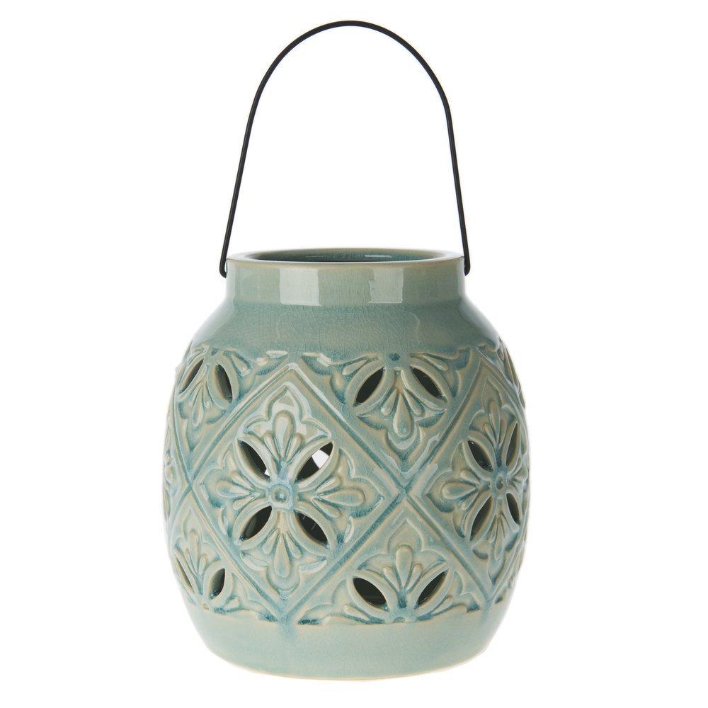 €30 CERAMIC LANTERN IN GREEN COLOR 16X16X18