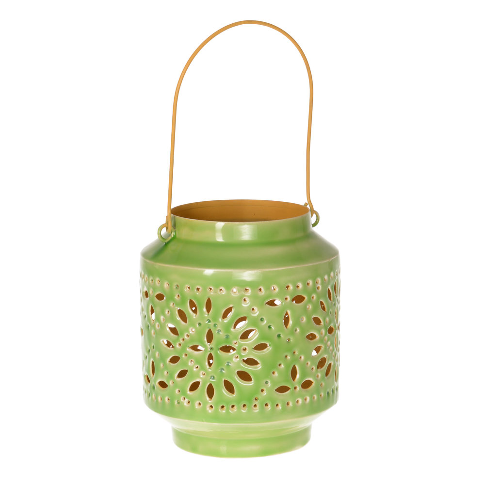 €56 IRON LANTERN IN GREEN/YELLOW  COLOR 18X21/40