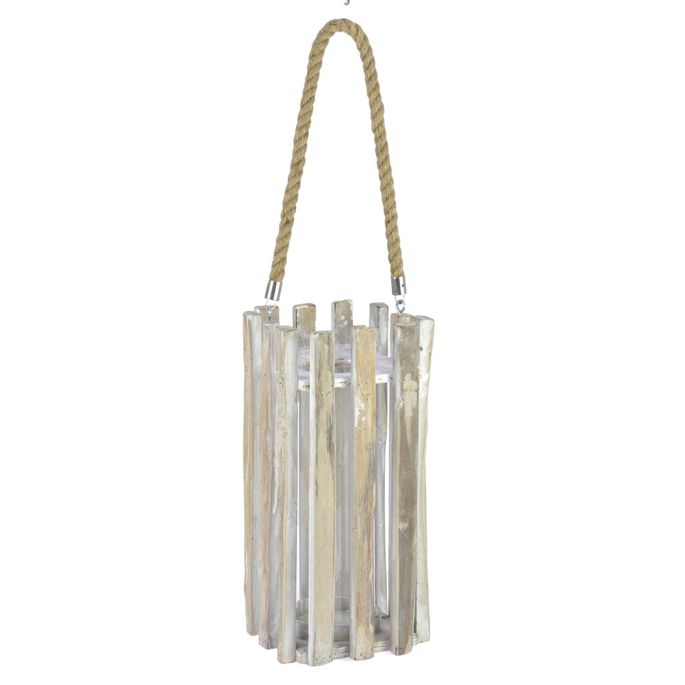 €52 WOODEN/GLASS LANTERN IN NATURAL COLOR 16X16X34