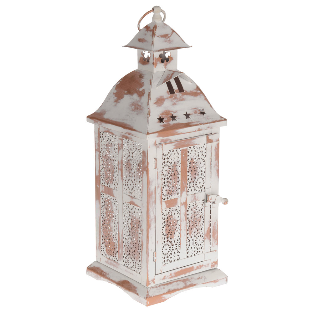 €56 METAL LANTERN IN ANTIQUE WHITE COLOR 15X15X39