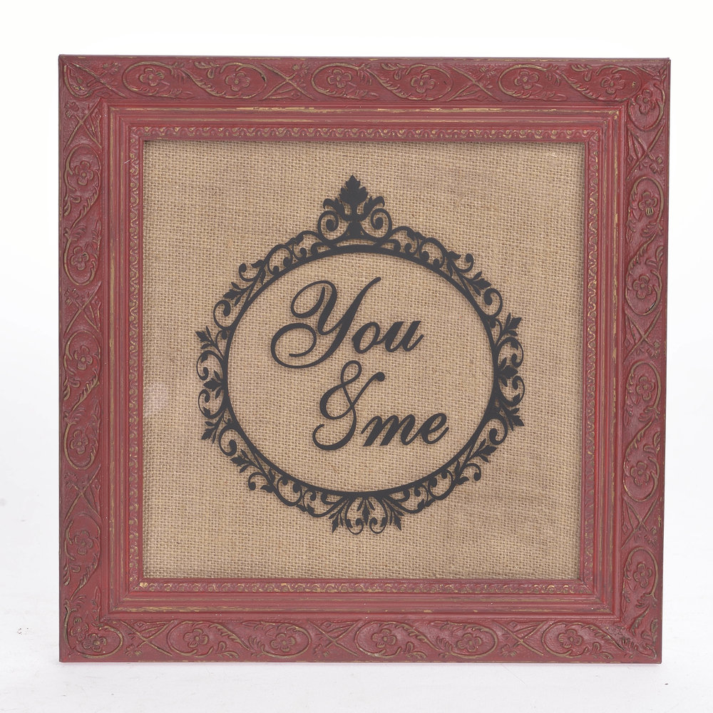 €28 WOODEN WALL DECO ' YOU & ME' 30X2X30