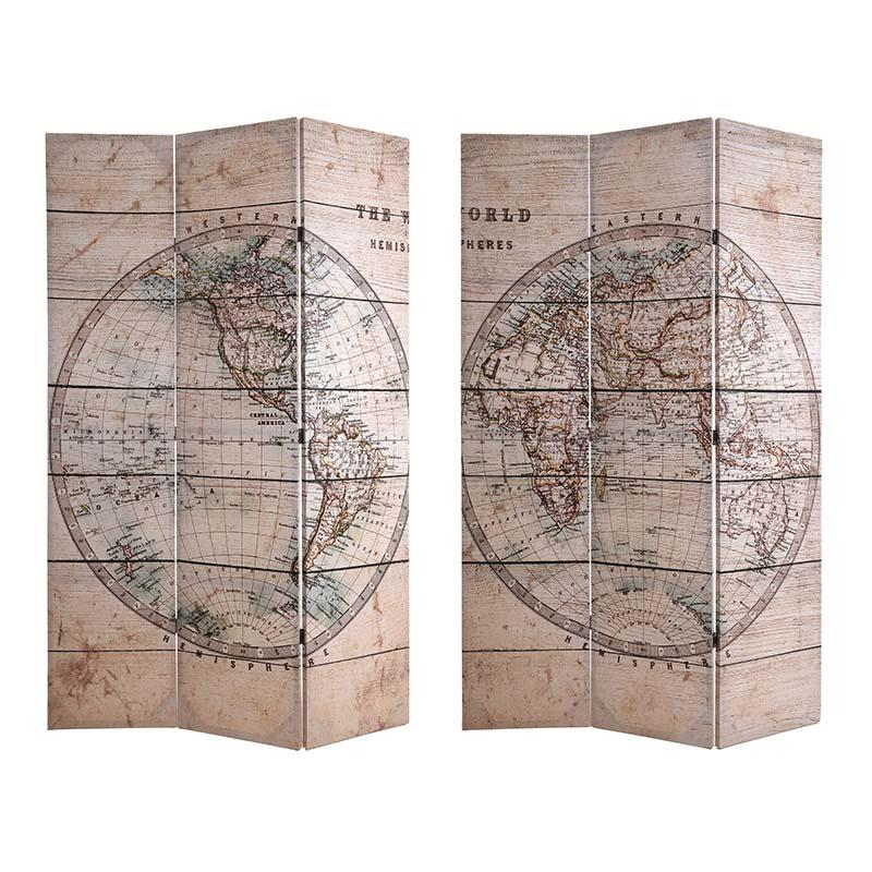 €130 CANVAS PRINTED SCREEN 'GLOBAL' 120X2X180 (DOUBLE SIDE)