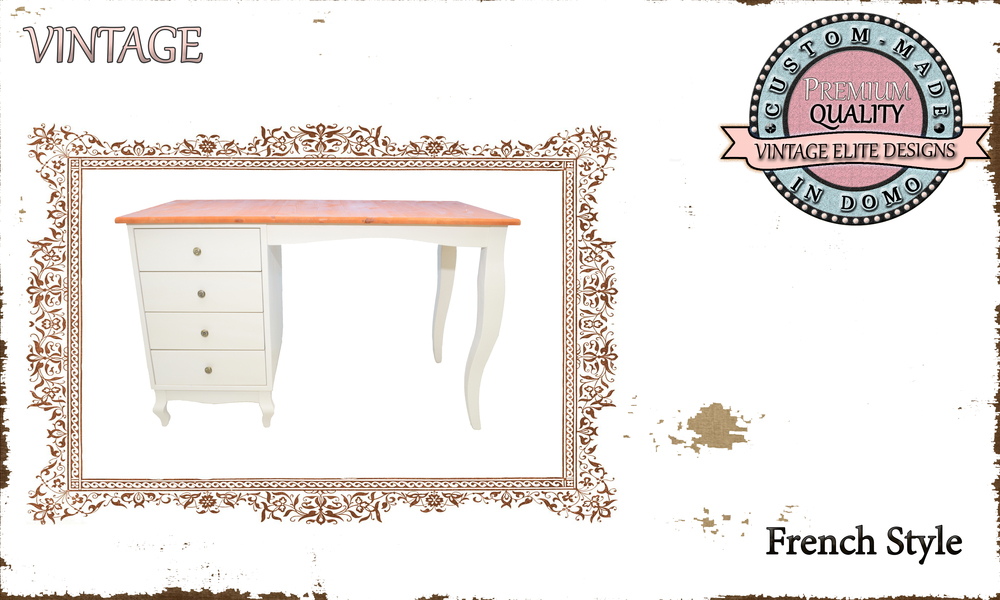 CUSTOM-MADE FRENCH STYLE desk PERSONALIseD BY YOUR CHOICE OF PAINTS AND DIMENSIONS. 120x60x75 (TO ORDER AT €480)