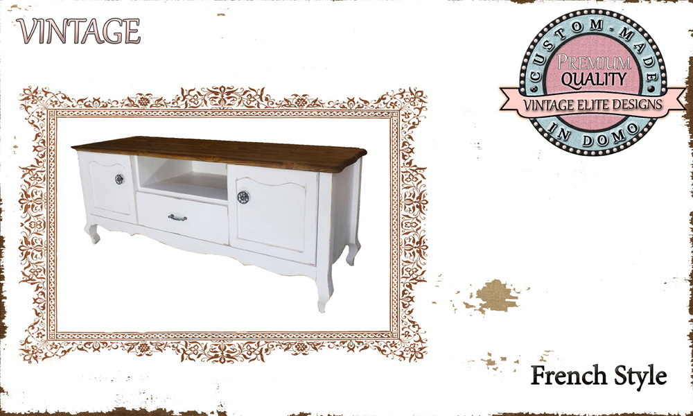 CUSTOM-MADE FRENCH STYLE TV-stand PERSONALIsED BY YOUR CHOICE OF PAINTS AND DIMENSIONS. 120x35x53 (TO ORDER AT €500)
