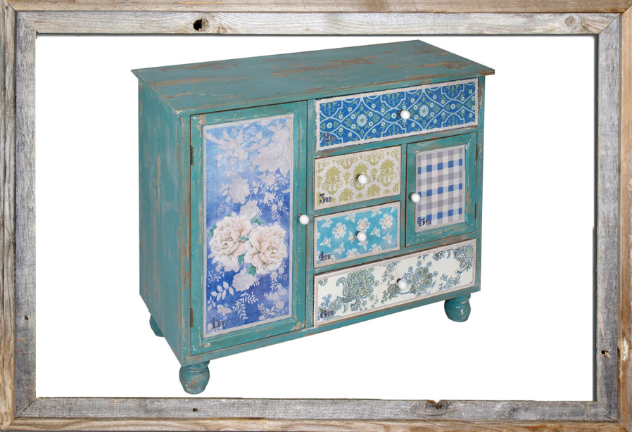 €640 WOODEN DRAWER TURQUOISE PATCHWORK 100X42X80