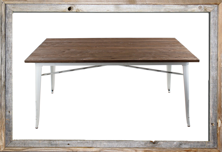€528 METAL TABLE W/ELM WOOD IN ANTIQUE WHITE COLOR 160X80X75