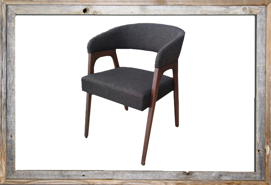CHAIR IN DARK WALNUT WOOD AND dark GREY FABRIC TMH-322 (to order at €126)