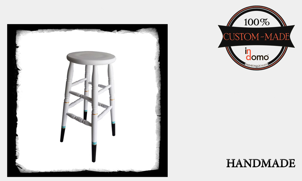 "Custom-made ""cicago"" stool personalised by your choice of paints. DIM: 35x79 (to order at €95)"