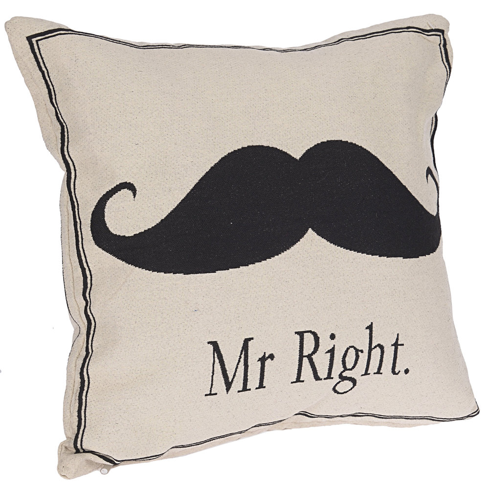 €26 FABRIC CUSHION 'MR RIGHT' 45X45