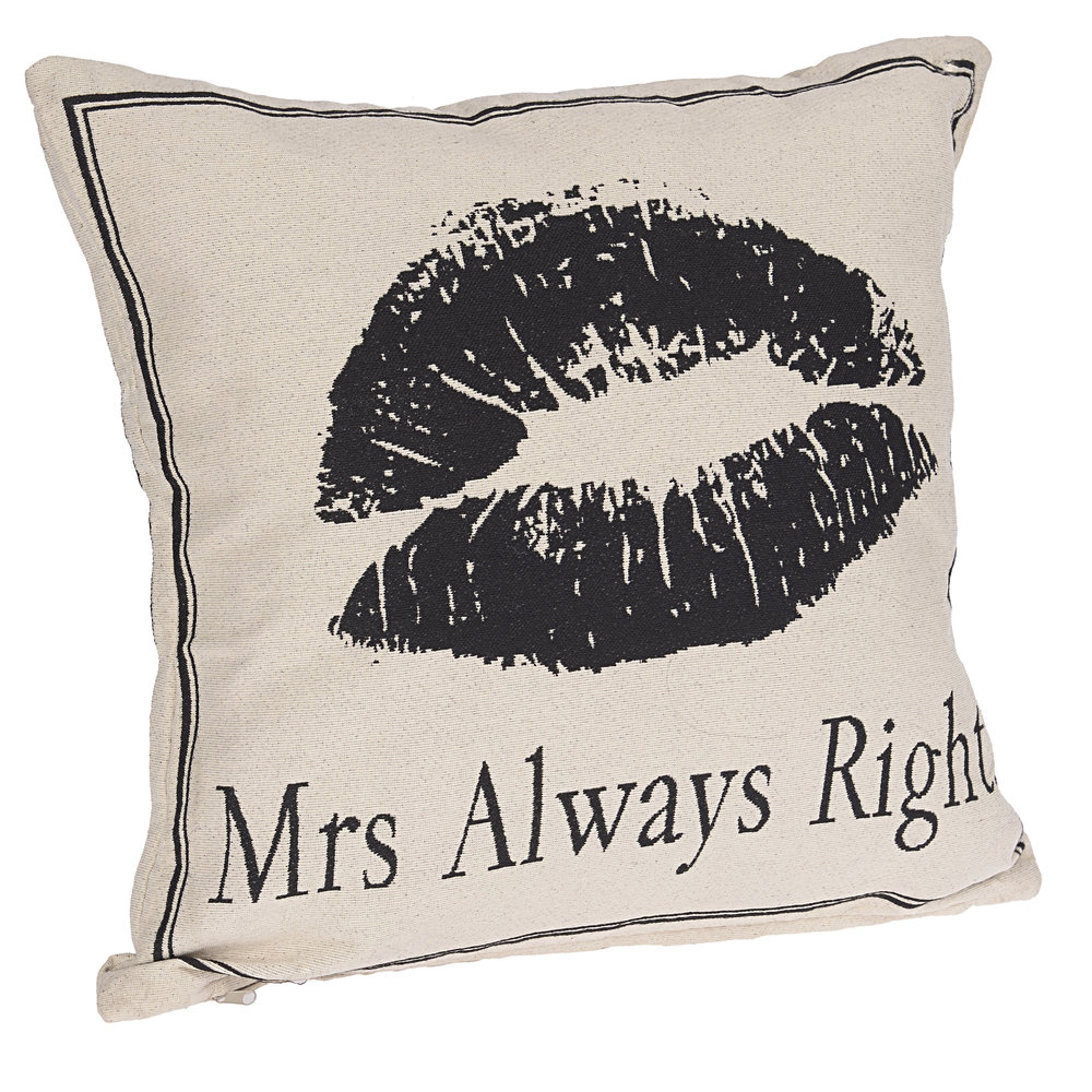 €26 FABRIC CUSHION 'MRS ALWAYS RIGHT' 45X45