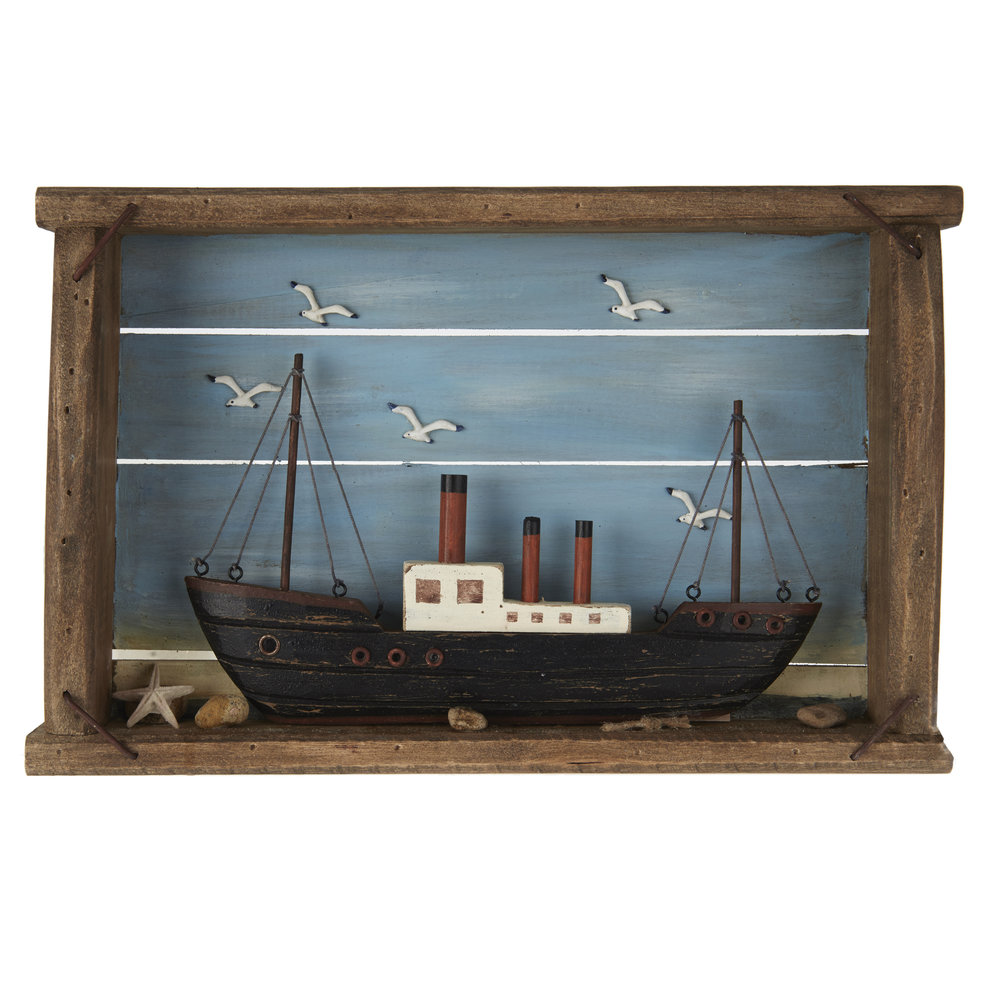 €71 WOODEN WALL DECOR W/SHIP 40X6X26