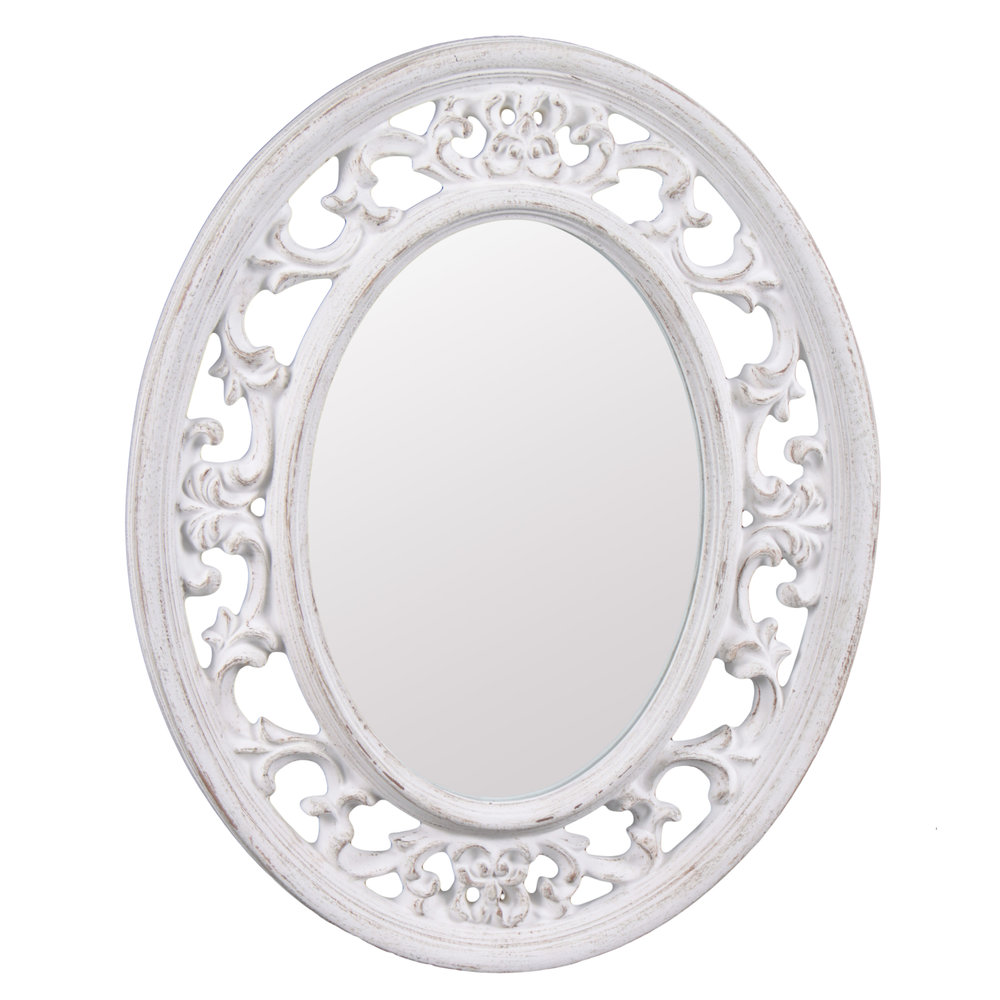 €136 POLYRESIN WALL MIRROR IN ANTIQUE WHITE COLOR 41X3X51