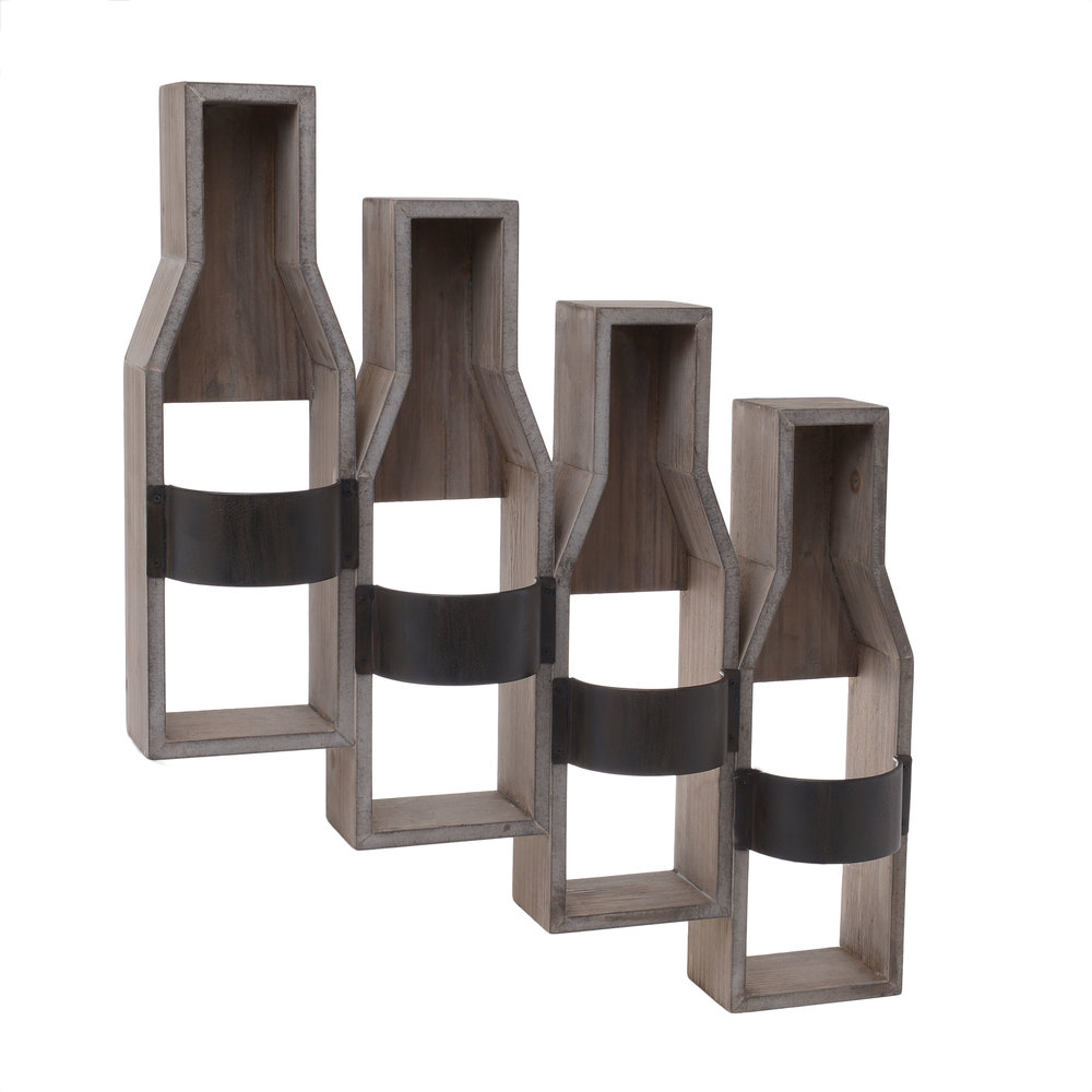 €86 WOODEN WALL BOTTLE HOLDER W/4 SECTIONS 46Χ11Χ54