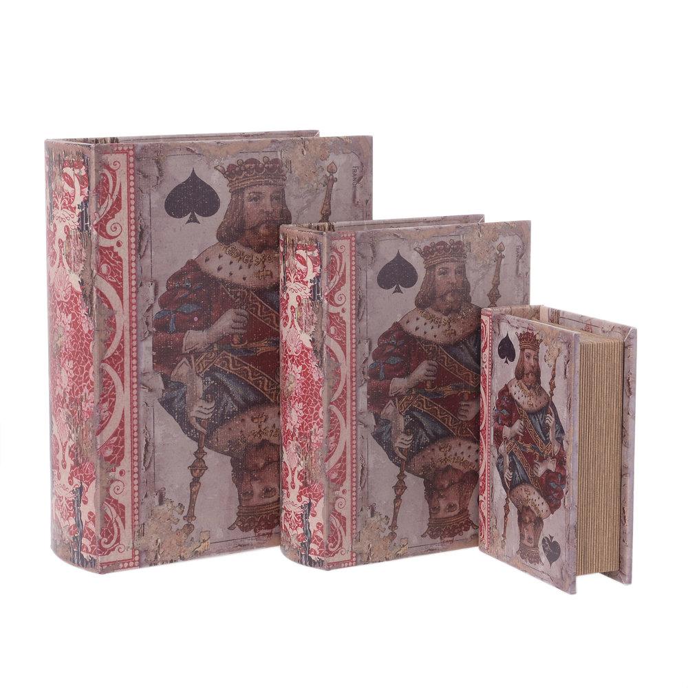 €75 S/3 WOODEN BOOK BOX WITH PU COVER 23Χ8Χ30