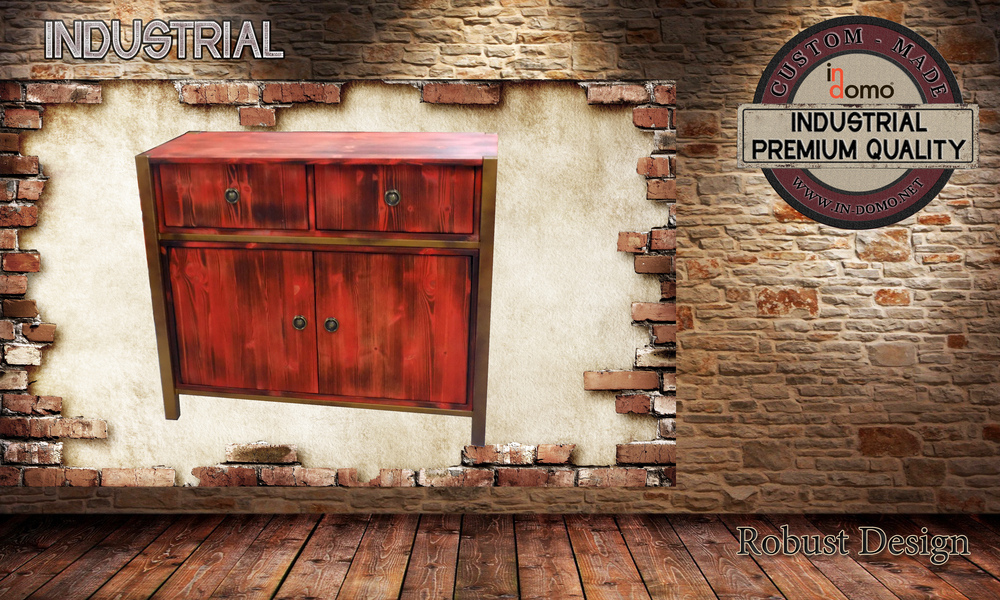 CUSTOM-MADE Rustic metal/wood cabinet PERSONALIZED BY YOUR CHOICE OF PAINTS AND DIMENSIONS. 100x43x84 (TO ORDER at €580)