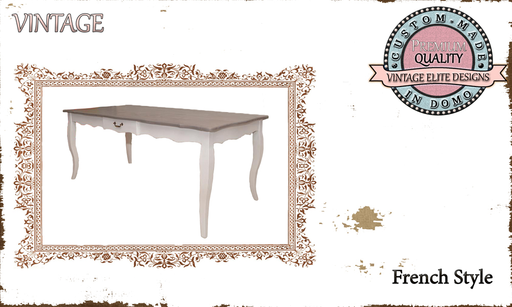 CUSTOM-MADE FRENCH STYLE DINING TABLE PERSONALIsED BY YOUR CHOICE OF PAINTS AND DIMENSIONS. 180x90x76 (TO ORDER at €580)