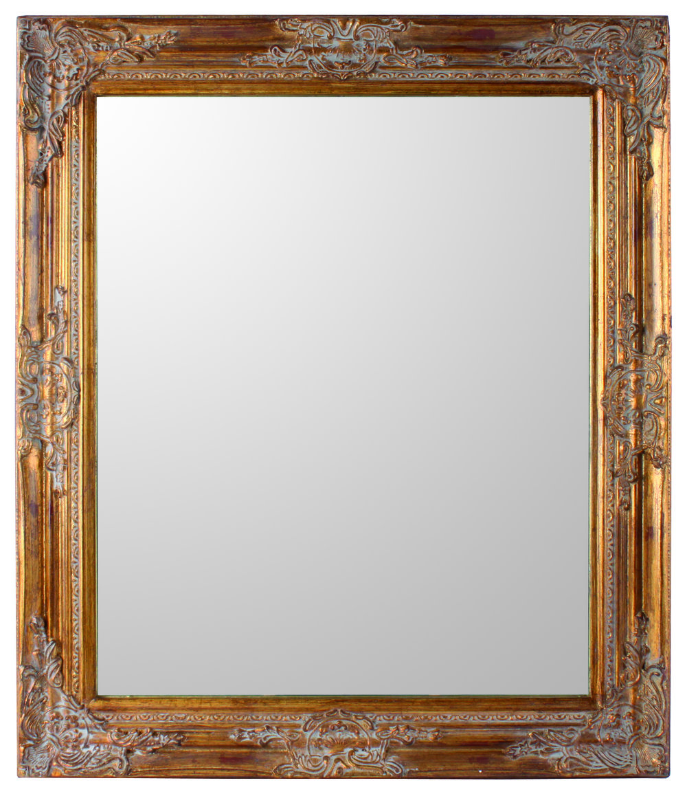 €90 POLYRESIN WALL MIRROR IN ANTIQUE GOLD COLOR 72X4X62